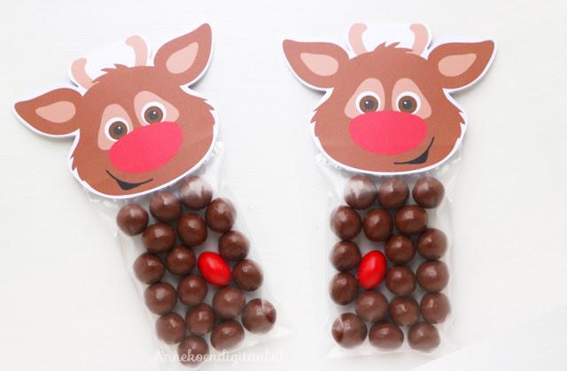 gratis Rudolf kerst traktatie printable, gratis printable traktatie, gratis kerst printable, printable rudolf, kerst lunch op school, school traktatie kerst