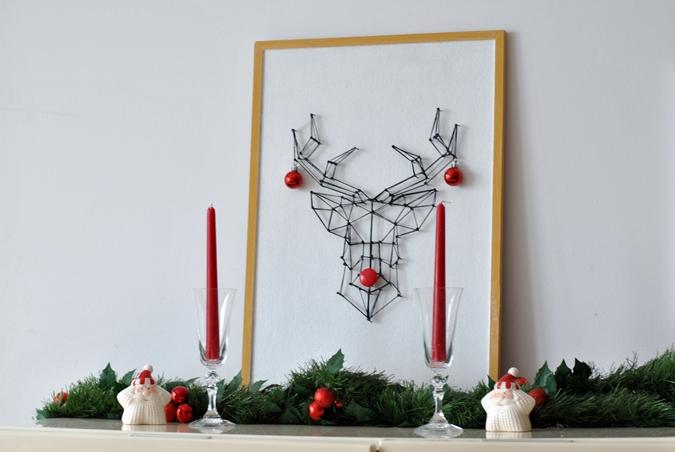 string art, DIY, obrazek string art, renifer, dekoracje świąteczne,