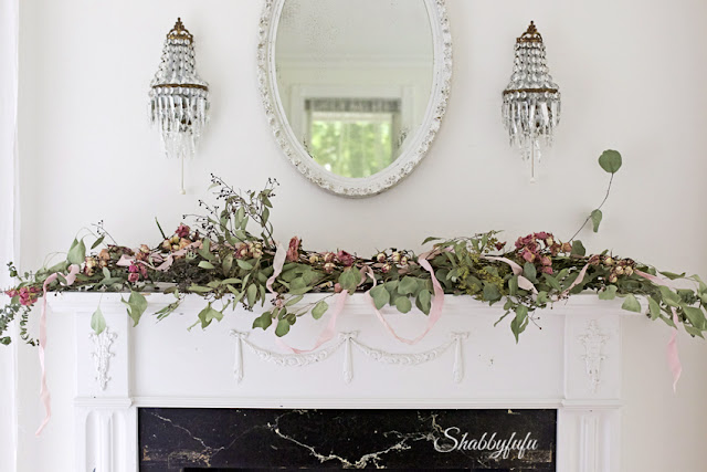 floral garland on a mantel for spring