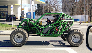 A racing buggy in town