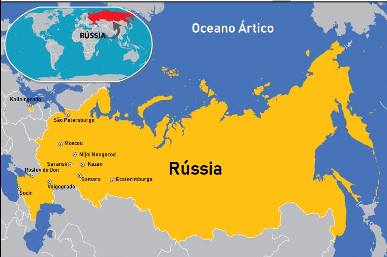 mapa russia Blog de Geografia: Mapa da Rússia as 11 cidades sedes da Copa  mapa russia