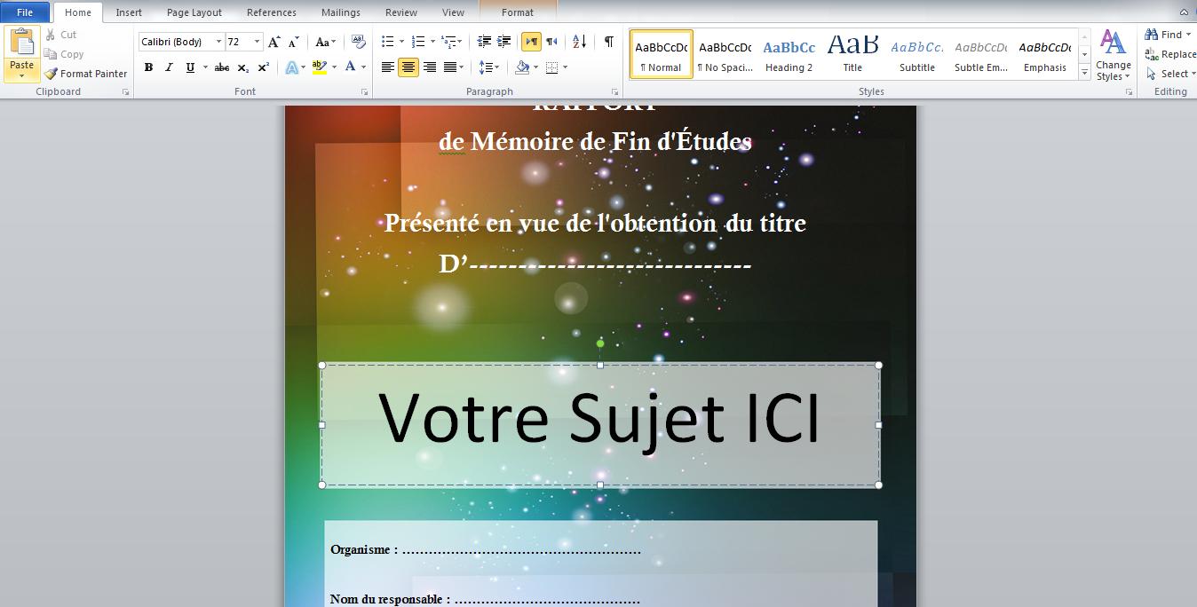 Exemple De Premiere Page De Rapport De Stage Word