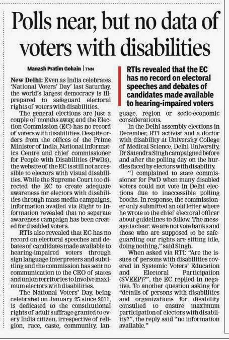Voters with disabilities in lurch, reveals Dr Satendra Singh's RTI