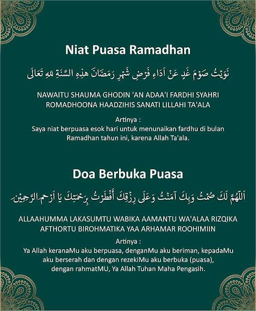 niat puasa ramadhan dan buka puasa