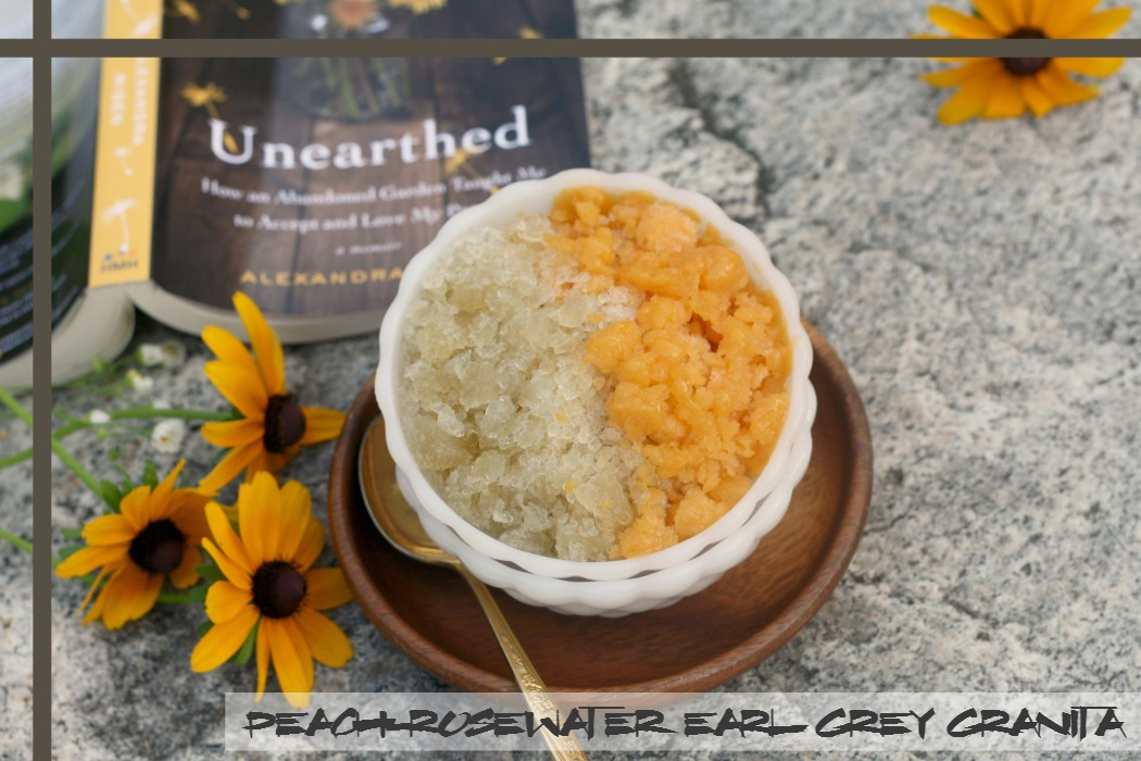 Peach-Rosewater Earl Grey Granita inspired by Unearthed | #UnearthedParty