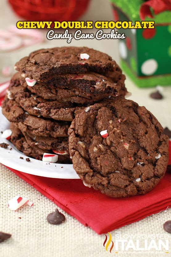 Chewy Double Chocolate Candy Cane Cookies