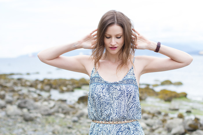 Vancouver Fashion Blogger, Alison Hutchinson, is wearing a bandana print maxi dress from Tobi