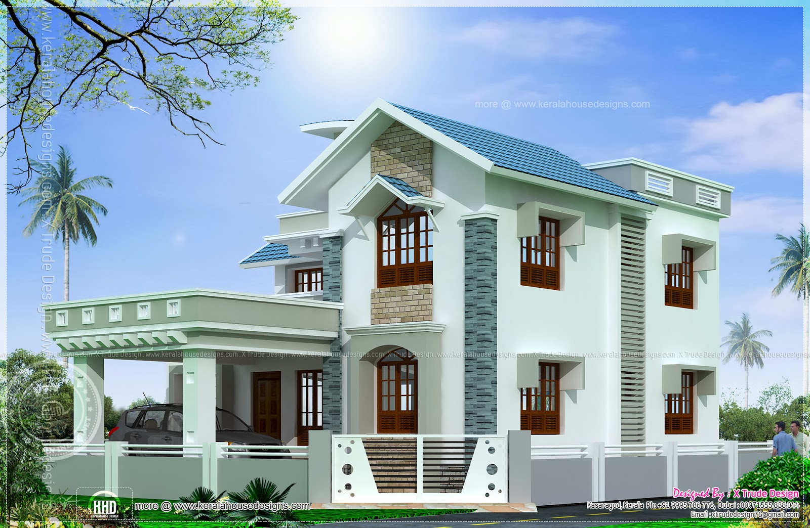 Sweet home beautiful square feet house elevation kerala for Beautiful farmhouse plans