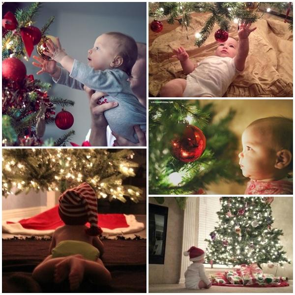 Nie ma Świąt Bożego Narodzenia bez świątecznego drzewka. Zatem wybór ten jest dość oczywisty i stwarza całkiem sporo możliwości. Właściwie wystarczy Dziecko posadzić albo położyć koło choinki i już się robi magicznie:)