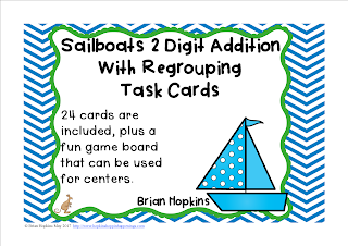 FREEBIE Sailboats 2 Digit Addition Regrouping Task Cards