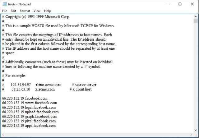 Điền dãi IP vào file hosts để truy cập được  Facebook