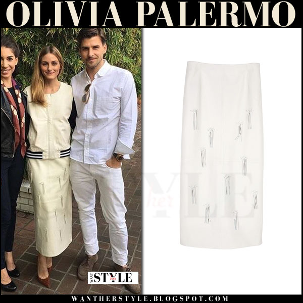 Olivia Palermo in white leather fringe tibi skirt and white bomber jacket what she wore outfit inspiration