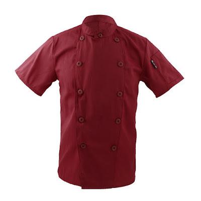 Ropa Traje Chaqueta De Cocinero Para Hombres Mujeres Cuello Mao De Manga Corta Cocina Uniforme Encabeza - rojo, XL