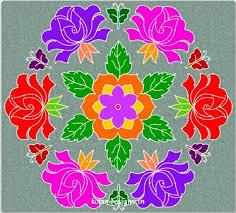 Simple Rangoli Flower Designs