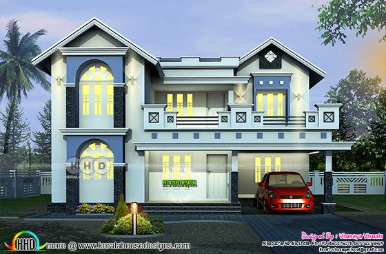 2401 square feet, 3 bedroom decorative home plan