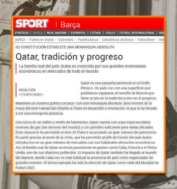 prensa del Barcelona con patrocinio Qatar