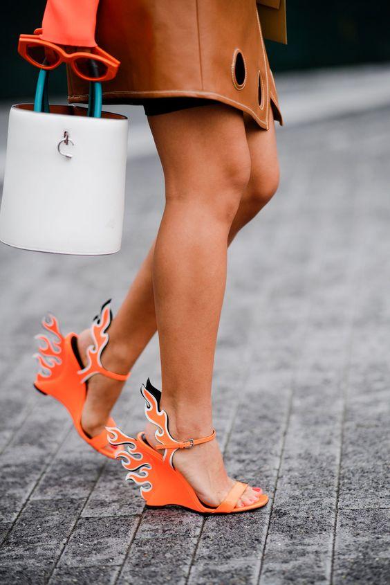 prada flame sandals nyfw street style