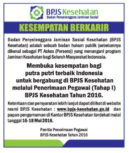 Lowongan Kerja BPJS Kesehatan Mei 2016