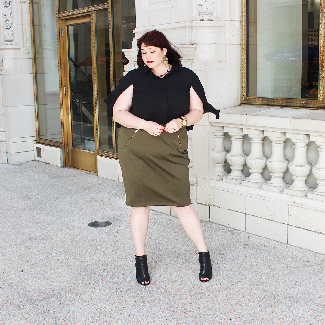 Plus Size Blogger Amber from Style Plus Curves in an Olive Pencil Skirt and Black Cropped Top from the Ashley Nell Tipton collection for Boutique Plus at JCPenney