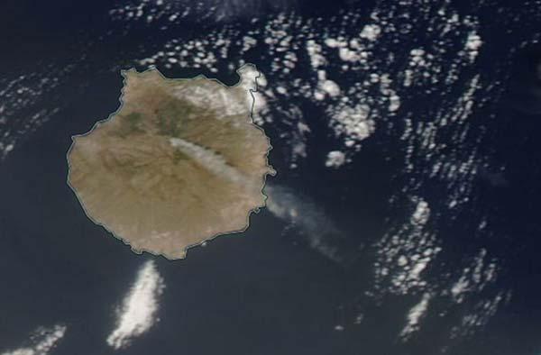 Foto satélite del incendio de la cumbre de Gran Canaria