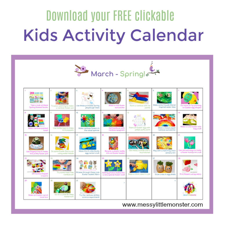 Spring Activity Calendar March Messy Little Monster