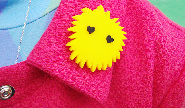 baccurelli, acrylic jewelery, yellow brooch