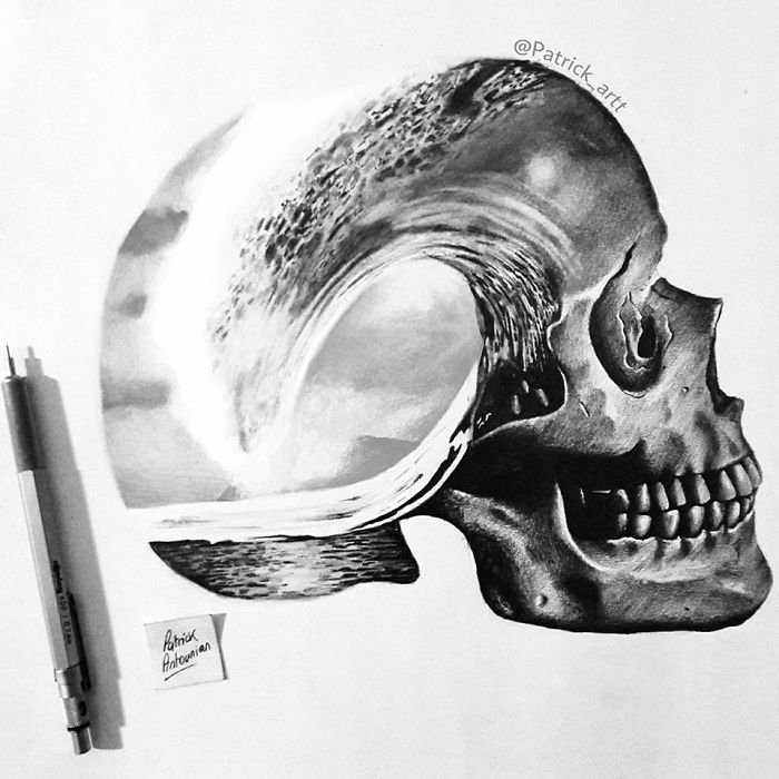 06-Skull-and-Waves-Patrick-Antounian-Black-and-White-Double-Exposure-Drawings-www-designstack-co