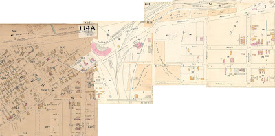 Four tiled map sections, labelled, from left to right, 114A, 112, 113, 114, from the 1888/1901 Fire Insurance plans, with extents just west of Division (Booth, east); Spruce between Division and First (Champagne/City Centre, South), Somerset over the tracks (South), half a block south of Somerset west of the tracks (South); A little west o fSouth St (Garland, West); and a little north of Wellington St/Concession (Albert/Scott, North). The left-most square of map (114A) is on darker (older) paper than the other three sections, which are also smaller. The rail lines are shown in more detail. The CPR comes under Somerset (which is labelled as 'Wood & Iron Bridge') before splitting once for a spur that goes over Wellington west of the Roundhouse, then splits into five tracks, one splits west with a building on the south side of Wellington, two that split east and go into a building on the south side of Wellington, and between those, another which splits into two before crossing Wellington, one going west off the map toward the Prince of Wales bridge, the other going east and splitting after Wellington into three tracks and going into a tangle of tracks that are mostly cut off of the map. The CAR has three lines crossing under Somerset, the left two join south of somerset, and the right two join north of Somerset. Heading north, the left line goes into the same building south of Wellington as the two CPR tracks; the right line goes through the Sparks Estate North Yard/J. R. Booth, then goes east of the building to cross Welilngton just west of First Ave (Champagne/City Centre Ave) and heads east and wraps around the Canada Atlantic yard, ending with a track that splits at Wellington and broad, one of which continues across Broad and northeast off the map.