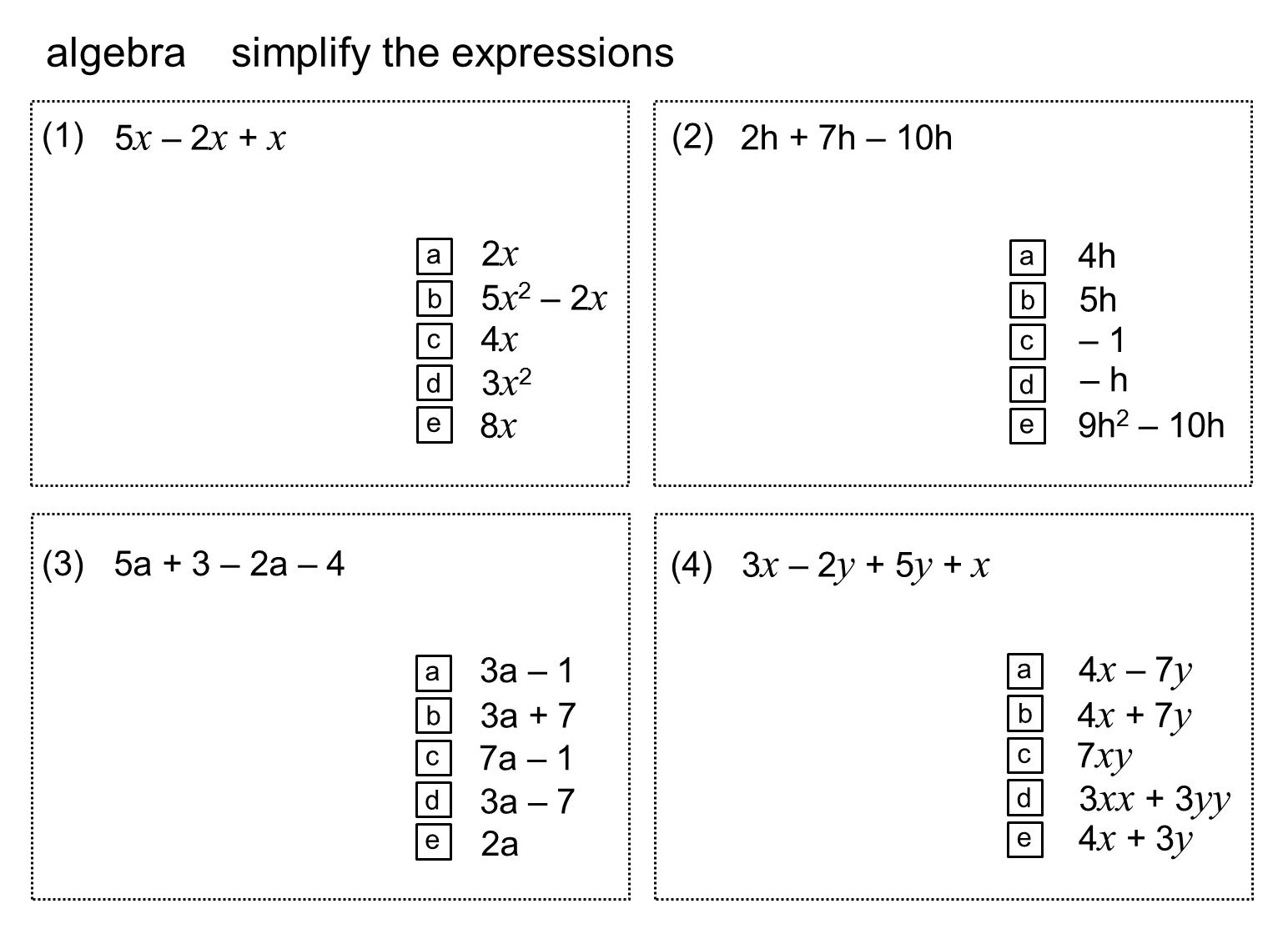 Algebra 1 Practice Quiz With Answers