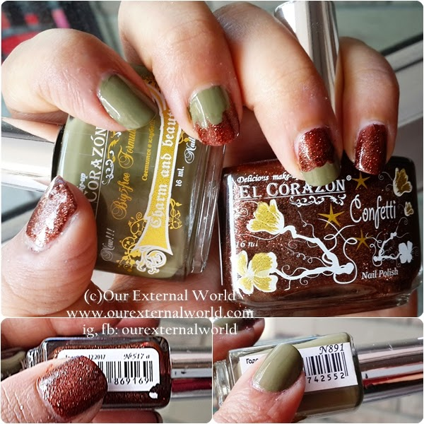 Review: El Corazon Charm And Beauty No 891 & Confetti No 517, swatches, olive green polish, glitter polish