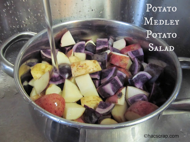 Make your next Potato Salad pretty wiht a medley of potatoes in red, white and blue