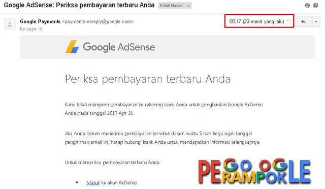 alhamdulillah email pemberitahuan adsense jika gajian