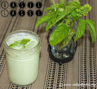 images of Basil Salt Lassi Recipe / Basil Mor Recipe / Basil Buttermilk Recipe - Summer Refreshing Drink