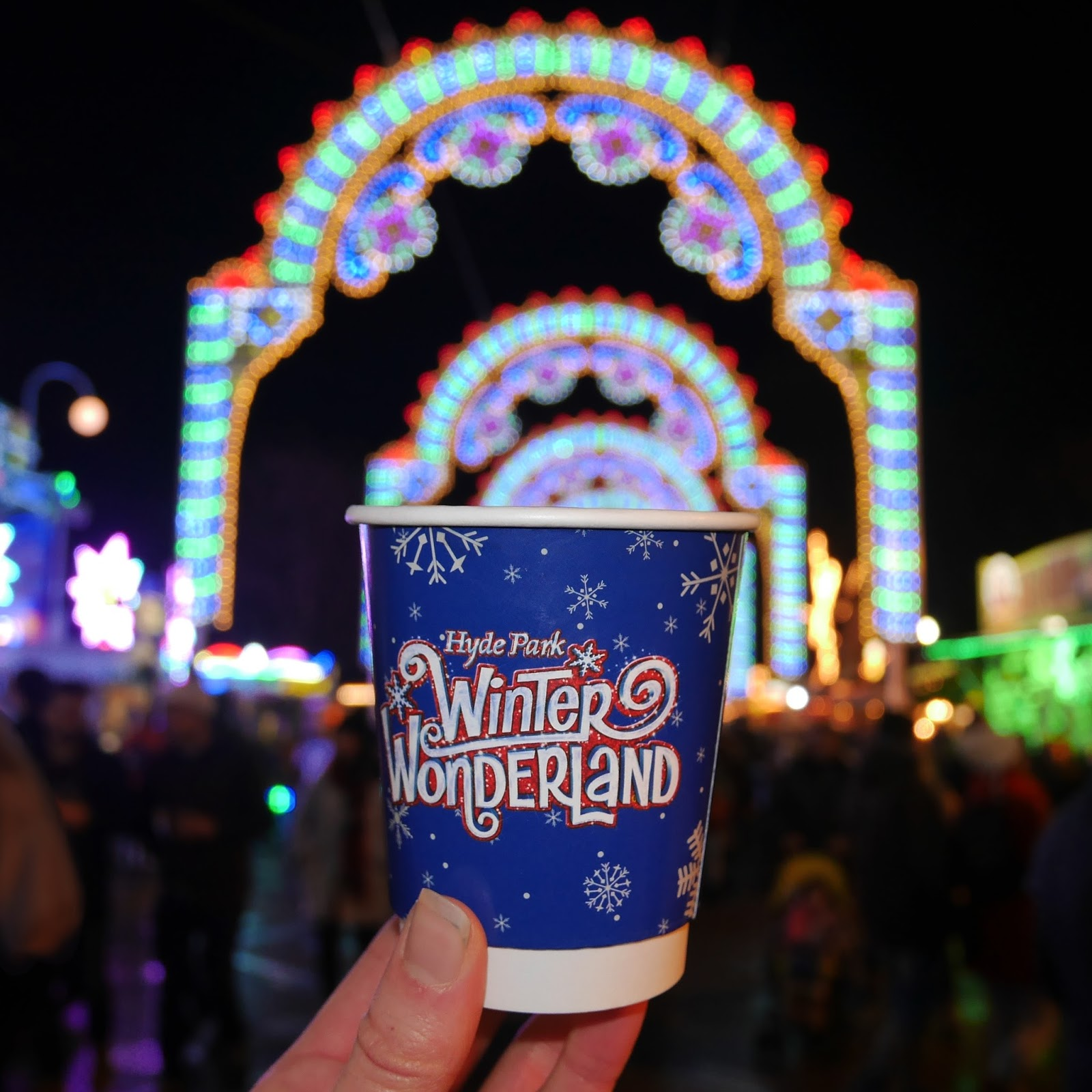 Drinking Hot Chocolate at Winter Wonderland