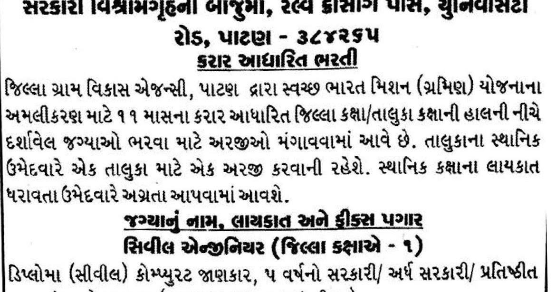 District Rural Development Agency, Patan Various Posts