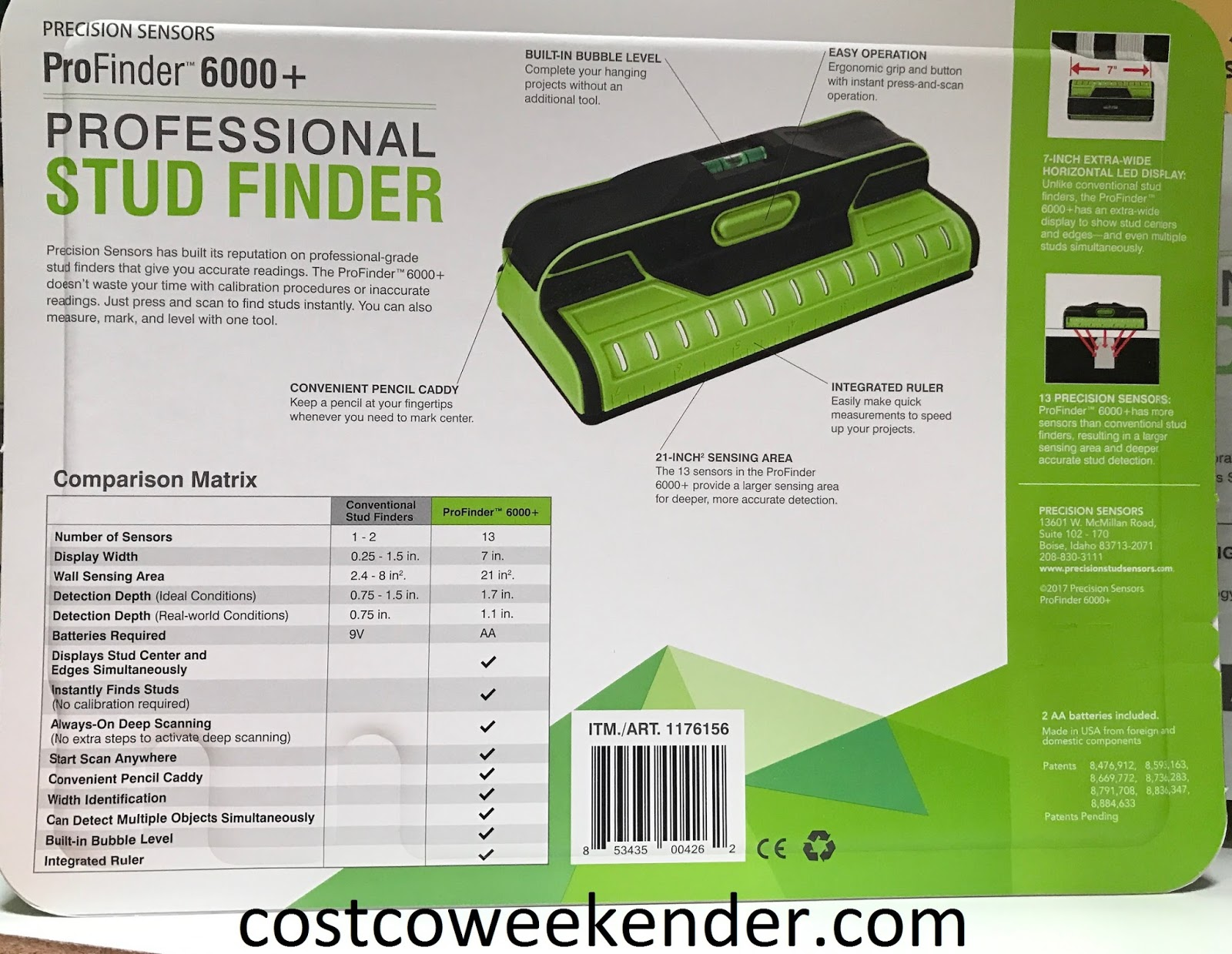 Costco 1176156 - Precision Sensors ProFinder 6000+ Professional Stud Finder: accurate deep sensing