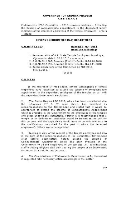 AP Endowments Department Gos and Circulars: G O MS No 1357