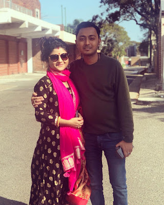 Aditi Munsi with husband Debraj Chakraborty