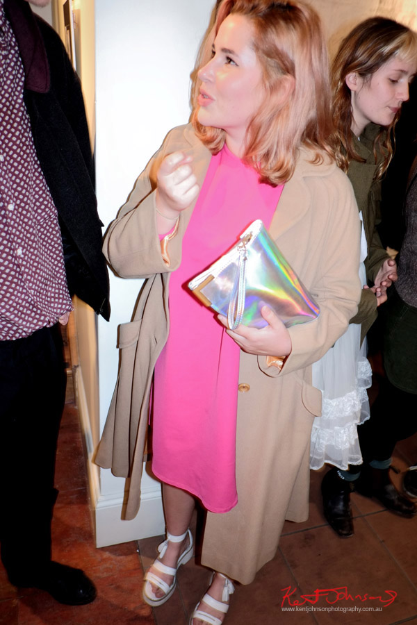 Hot pink dress biege overcoat, white shoes and opalescent handbag - Art Opening - Street Fashion Sydney
