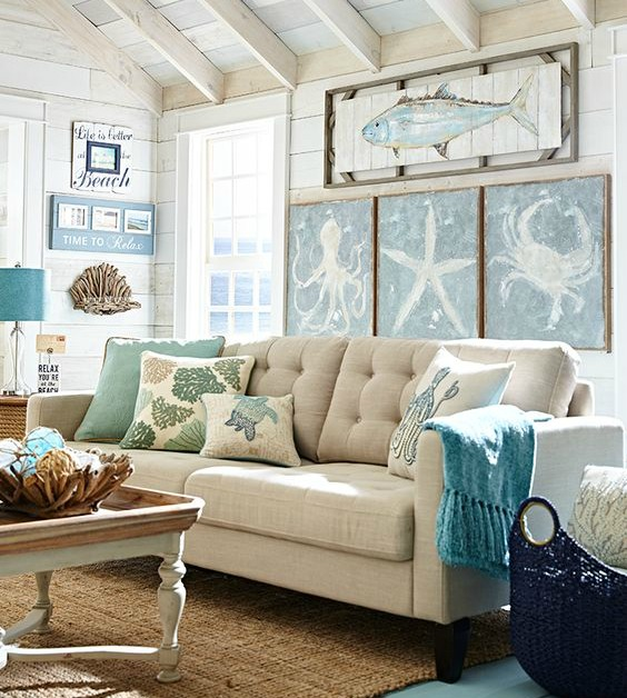Beachy living room big on wall decor pier 1 catalog for Beach room decor