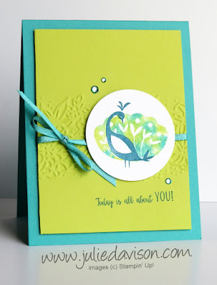 2018 Sale-a-Bration Favorite: Stampin' Up! Beautiful Peacock Card + Baby Wipe Technique VIDEO ~ www.juliedavison.com