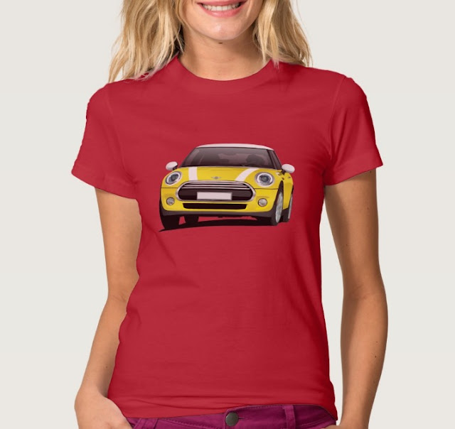 Yellow Mini Cooper illustration T-shirt