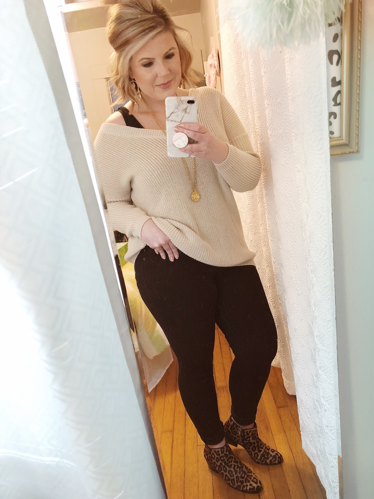 Easy outfits for work Fashionnova sweater calf hair booties