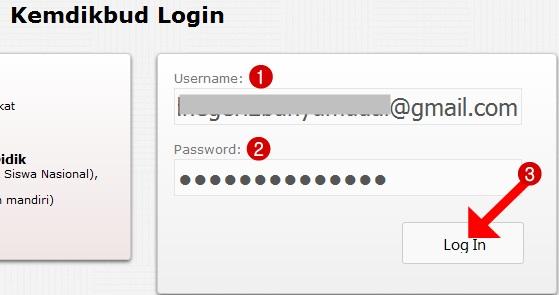"""Masukkan username dan password, kemudian klik """"Login"""""""