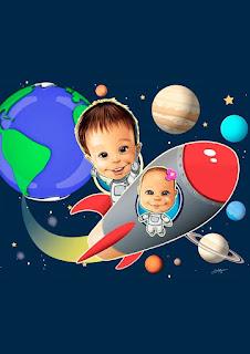 caricatura infantil no espaço