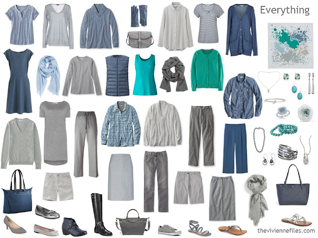 a capsule wardrobe for a Summer, in grey, blue and jade