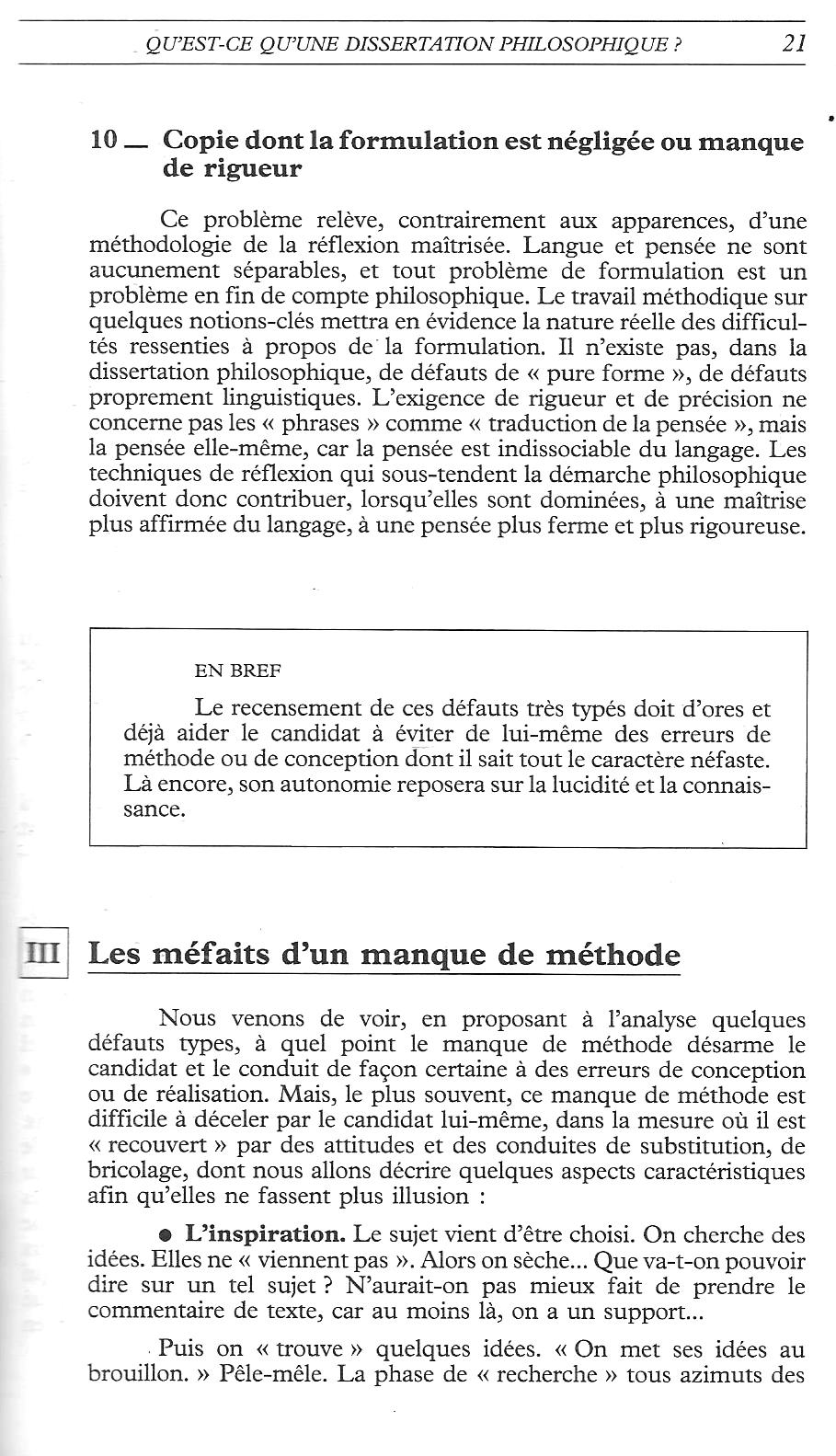 Dissertation de la philosophie