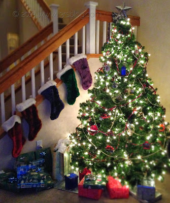 christmas tree stockings staircase