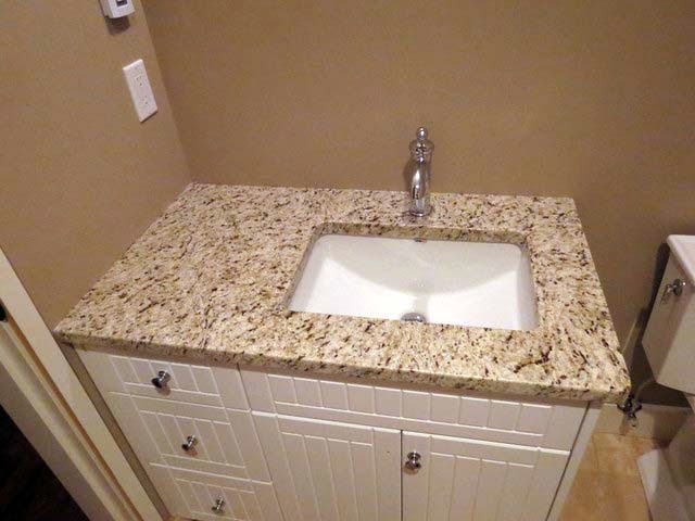 between bathroom with granite vs quartz countertop materials. Granite Bathroom Sinks Countertops  Black Double Vanity  Giani