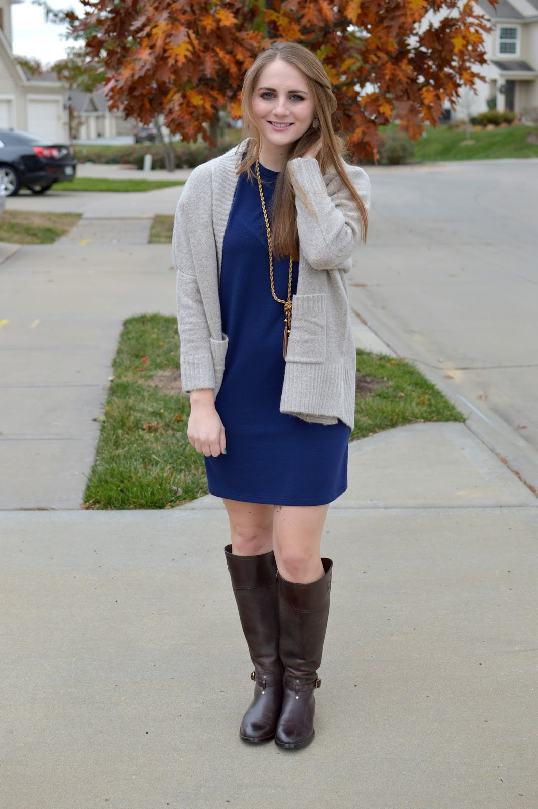 navy dress with chocolate brown boots